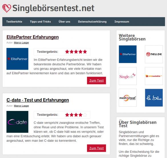 Singlebörsentest-Startseite
